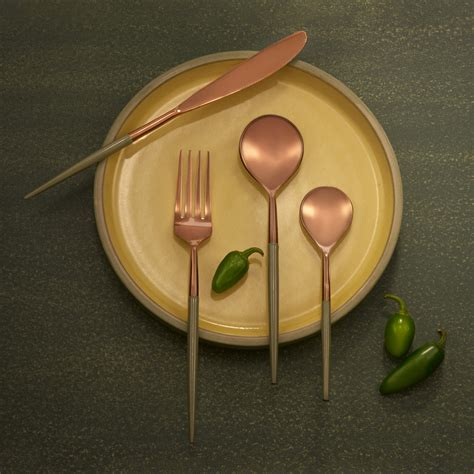 buy rose gold sap green metal  enamel cutlery set    ellementry