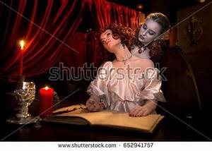 A Vampire In A Black Gothic Dress On Stock Images, Royalty ...