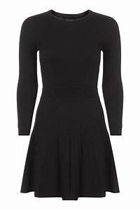 Topshop Long Sleeve Fit And Flare Dress in Black | Lyst