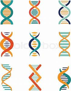 Dna  Genetics Vector Icons Set Flat Style
