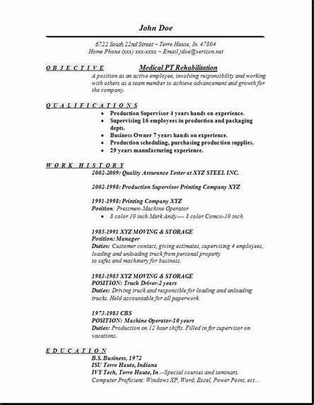 pt rehabilitation resume occupational exles