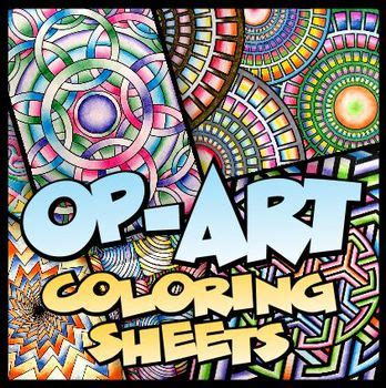op art coloring sheets  unique designs  sizes tpt