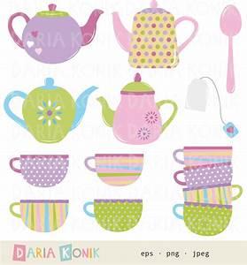 Tea Time Clip Art Set-teapots cups spoon tea bag colorful