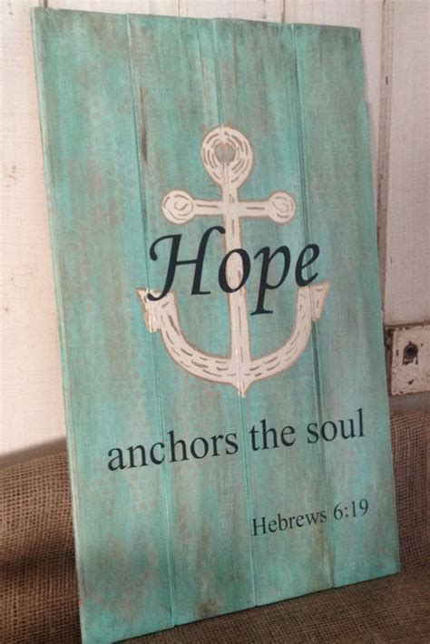 hand painted wood sign hope anchors  soul painted