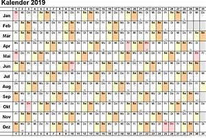 Kalender 2019 Ausdrucken, Ferien, Feiertage, Excel, PDF