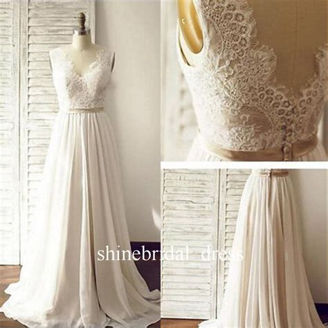 Bohemian 2017 Wedding Dresses V Neck Low Back Lace Chiffon