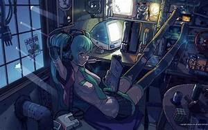 Galaxia Lighting Narcodigitalhedonist Anime Style Cyberpunk Girl Hatsune