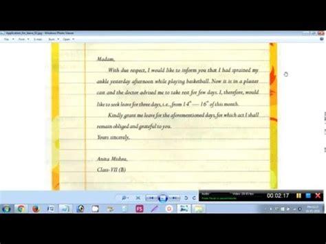 write  leave application   class teacher