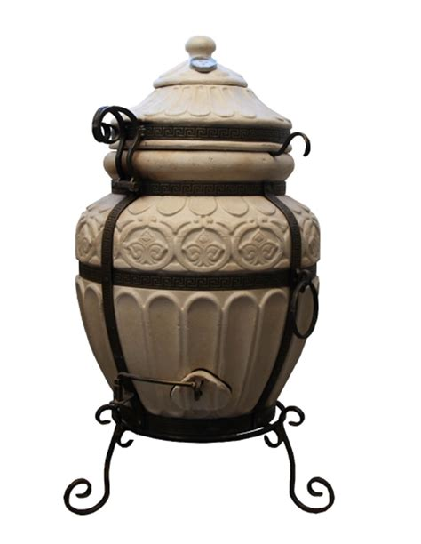 Keramiskā krāsns - tandirs GRIEĶU DARK BROWN Dāvanā - Dekoratīva keramikas flīze - paliktnis ...