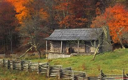 Fall Log Cabin Country Autumn Kentucky Wallpapers