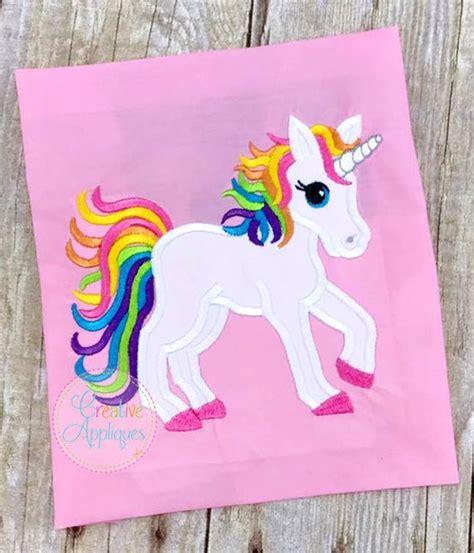 rainbow unicorn digital machine embroidery applique design  sizes unicorn applique rainbow