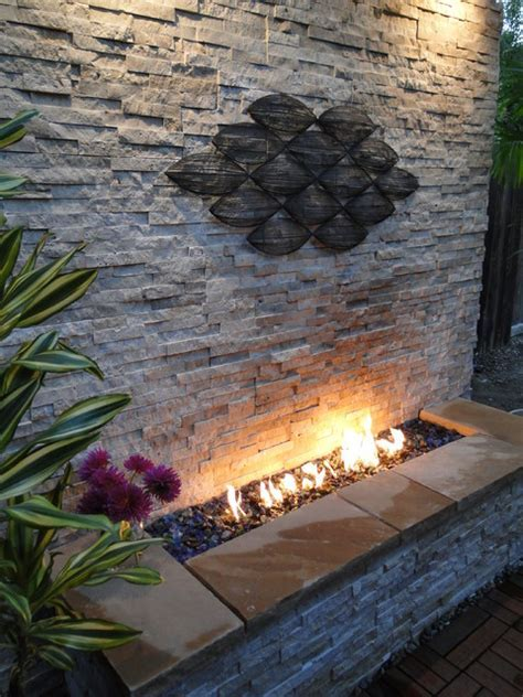 Outdoor Stacked Stone Fireplace   Contemporary   Patio