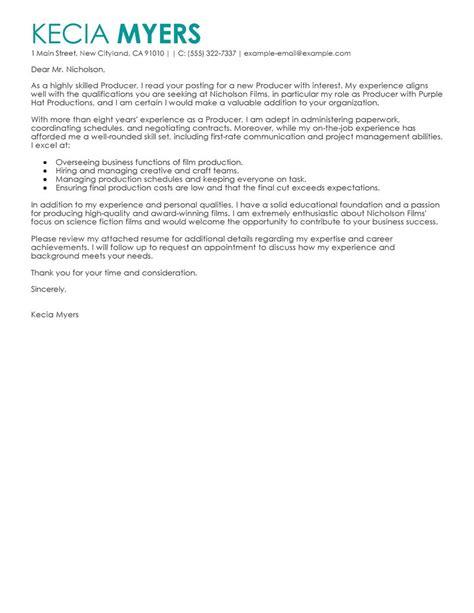 media entertainment cover letter examples media