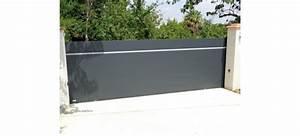 Portail Coulissant Motorisé 4m : portail plein coulissant aluminium au design original ~ Dailycaller-alerts.com Idées de Décoration