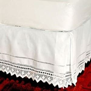 Bedskirt, hand crocheted, Elegant hand crochet lace tailored bed skirt, 100% cotton with an