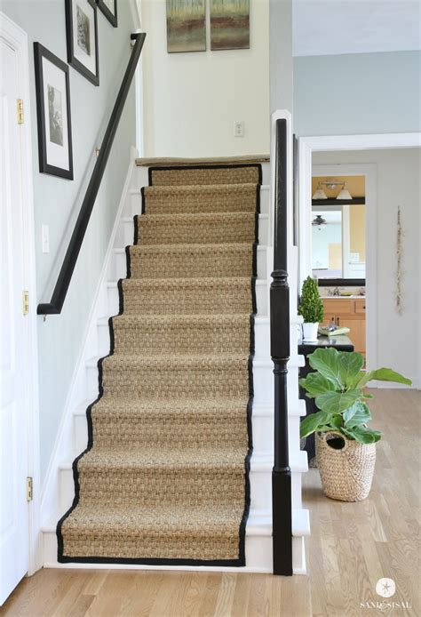 grass looking rug painted staircase makeover with seagrass stair runner
