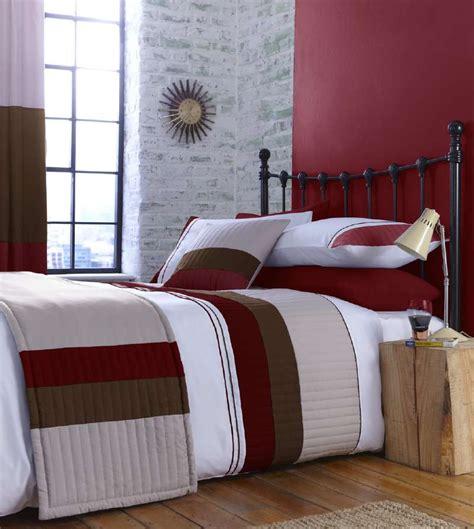 details  red beige  cream stripe bedding