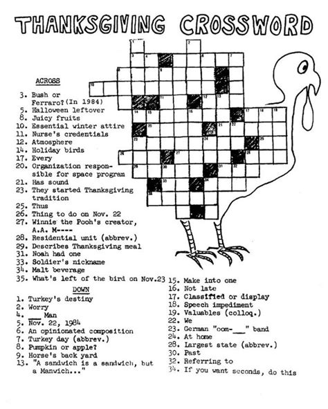 thanksgiving crossword puzzle  images thanksgiving