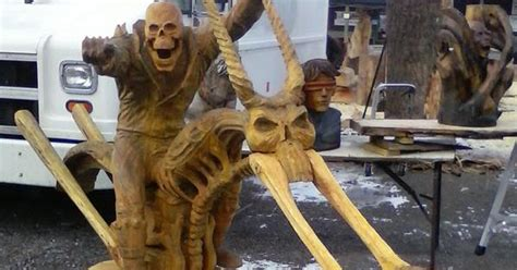 car guy ghost rider chainsaw carved wood sculpture