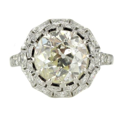 engagement rings deco deco 2 65 carat platinum engagement ring at 1stdibs