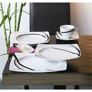 Lot De Vaisselle Pas Cher : service de table 18 pieces sweet line noir ~ Teatrodelosmanantiales.com Idées de Décoration