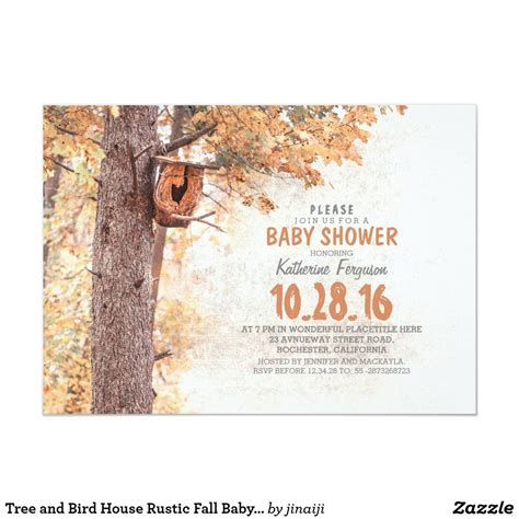 Tree and Bird House Rustic Fall Baby Shower Invitation