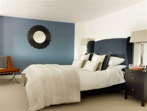 Wedgewood Blue Paint Bedroom Transitional with Carpet
