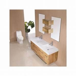 meuble salle de bain de luxe en bois massif refsdg941bn With meuble salle de bain bois massif naturel