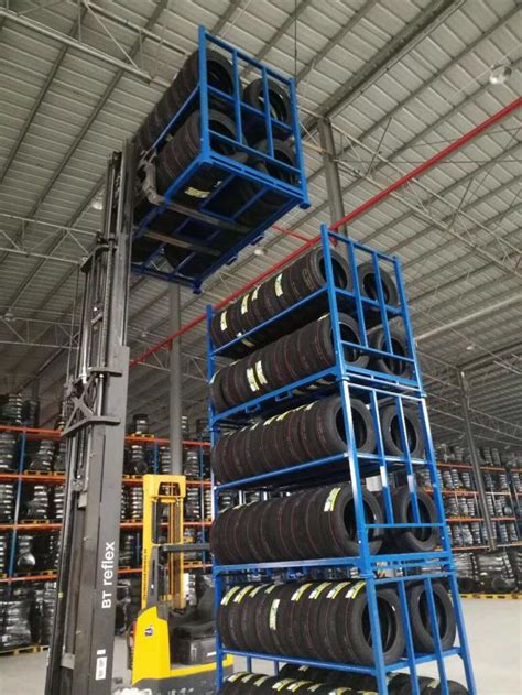 multi tier blue color industrial storage rack tyre racking system qb cold steel material