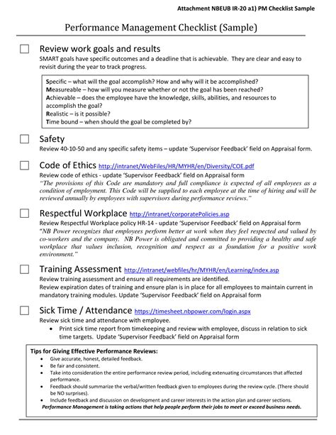 performance management checklist examples examples