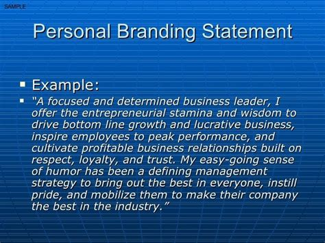 personal brand statement examples google search