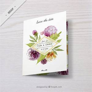 Wedding invitation with watercolor floral decoration psd for Watercolor wedding invitations psd