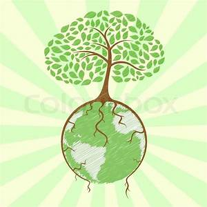 Illustration Of Tree Holding Globe With Its Roots On