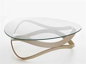 Plaque De Verre Pour Table : table basse ronde bois et verre design en image avec table ~ Dailycaller-alerts.com Idées de Décoration