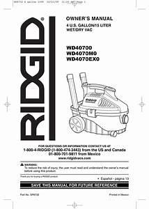 Ridgid Wd40700 Owner U0026 39 S Manual Pdf Download