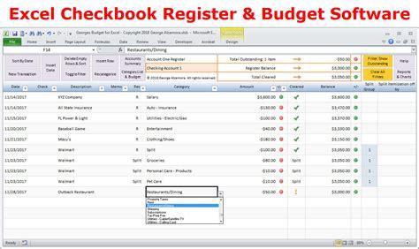 excel budget spreadsheet template  checkbook register