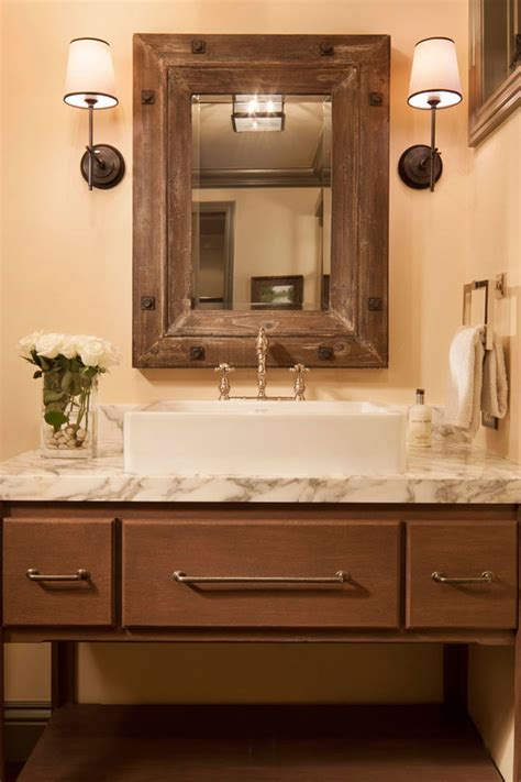 glamorous rustic mirrors  denver traditional bathroom