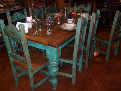table with turquoise chairs for the home