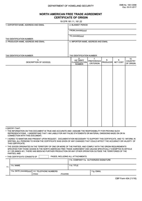 Fillable Cbp Form 434 - North American Free Trade