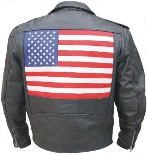 mens black  belt classic motorcycle biker jacket usa flag