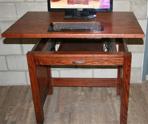 Small Wood Desk by Small Solid Wood Sit Stand Desk