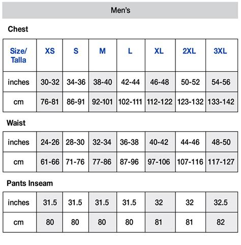 Sweatpant Size Chart