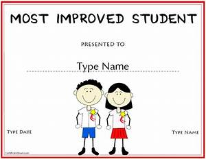 Education certificates most improved student award for Most improved certificate template