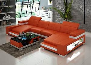 Double chaise sectional sofa living room with built in for Sectional sofa with built in table