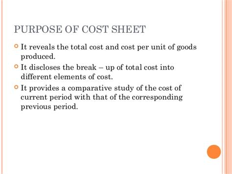 definition cost sheet new