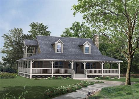 unique country style house  wrap  porch house