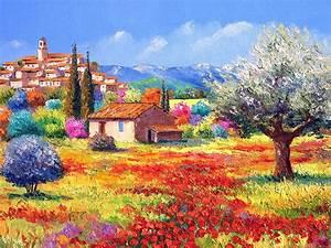 ภาพวาดทุ่งดอกไม้ ฝรั่งเศส