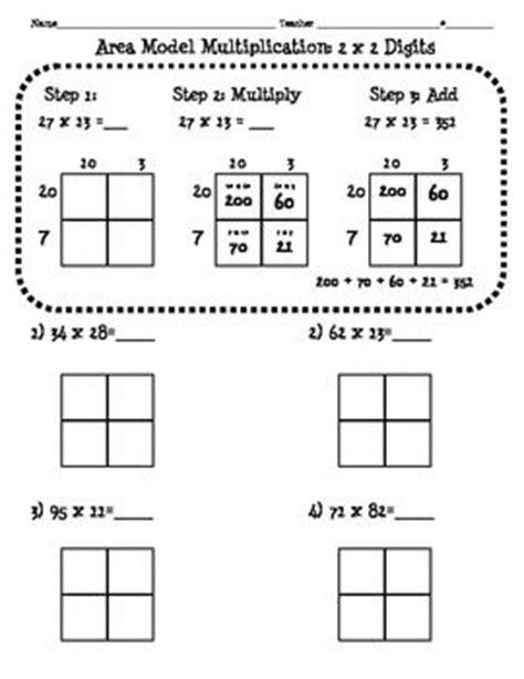 4nbt5 Area Model Multiplication Worksheet (2 Digit X 2 Digit)  Math  Pinterest Math