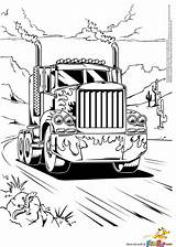 Coloring Truck Semi Pages Boys sketch template