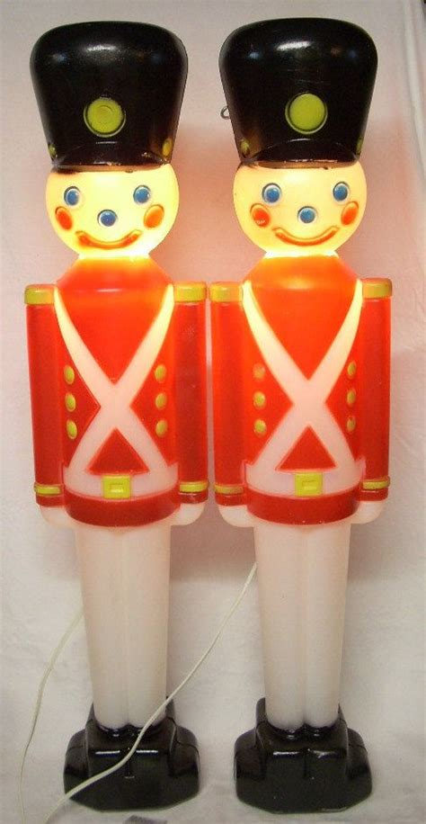vintage christmas decorations blow mold soldier lights